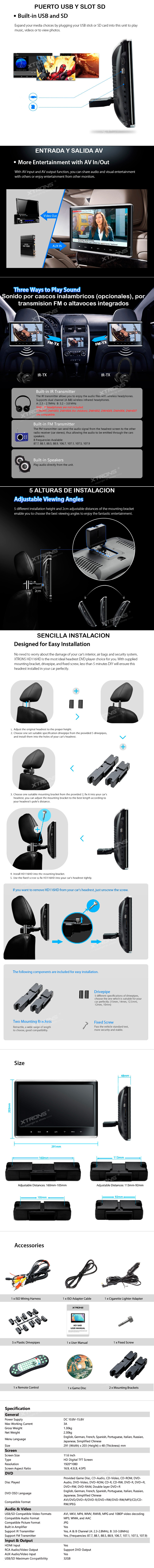 Exclusivecarauto 116 Ips Screen Headrest Dvd Hdmi Av In Out Nissan Monitor Wiring Harness Features